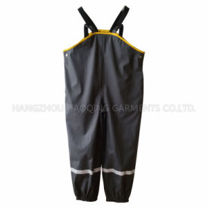 Black Solid PU Suspender Rain Pants pictures & photos