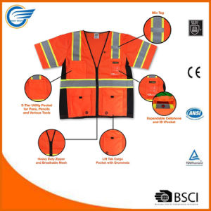 Class 3 Safety Vest with Reflective Radio Loop Multi-Pockets pictures & photos