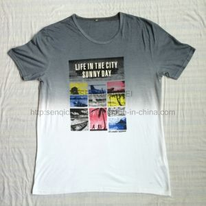 Summer White DIP Dye T-Shirt in Man Sport Knitwear Clothes Fw-8677 pictures & photos