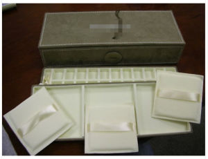 Genuine Suede Jewelry Box 3 Sections Brown Mib
