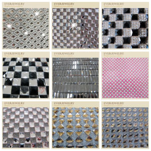 Fancy Sew on Flower Rhinestone Crystal Aluminium Mesh pictures & photos
