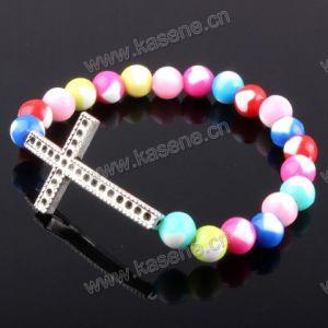 Fashion Bangle, Adjustable Rosary Fashion Bracelet with Cross