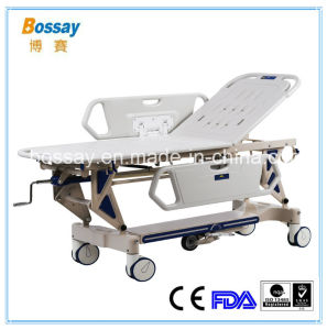 Manual Emergency Stretcher Trolley with Height Adjustable Hospital Trolley pictures & photos
