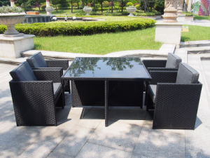 Outdoor Rattan Furniture Patio Garden Hotel Dining Table and Chair