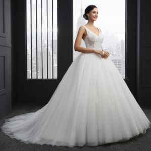V-Neck Backless Beading Wedding Dress (SL-042) pictures & photos