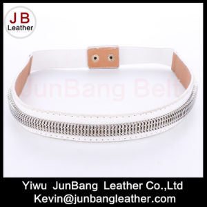 White Elastic Leather Classic Fashion Belt
