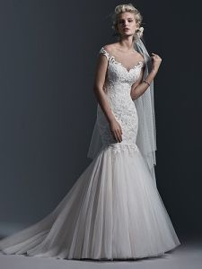 Pleated Lace Tulle Mermaid Wedding Dresses, Customized pictures & photos