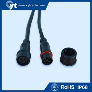 3 Pin Black Waterproof Cable with Male to Female Connector pictures & photos