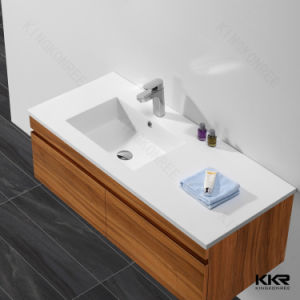 Artificial Stone Luxury White Bathroom Counter Top Cabinet Basin pictures & photos
