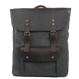 Fashion Stylish Cowhide Leather Unisex Bag Cotton Canvas Outdoor Backpack (RS-2166B) pictures & photos