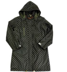 Black Hooded Check Waterproof PU Raincoat pictures & photos