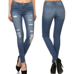 Women High Waist Ripped Fashion Jeans Denim Skinny Legging pictures & photos