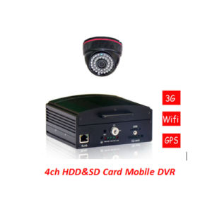 Mini HDD&SD Card Mobile DVR with Cycle Recording Function CCTV Surveillance H. 264 4CH Car DVR for Car Security DVR pictures & photos