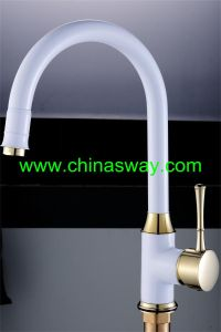 Gold Kitchen Sink Faucet with Goose Pipe, White + Gold (SW-09584-Q1J) pictures & photos