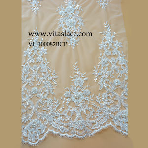 Ivory Rayon Lace Fabric for Wedding Dress in Factory Vl-100082bcp