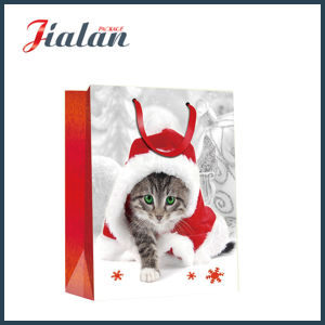 Printed Dogs & Cats Ivory Paper Christmas Packing Gift Paper Bag pictures & photos