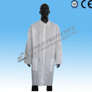 Single Use Lab Coat, PP SMS Non Woven Lab Coat Waterproof pictures & photos