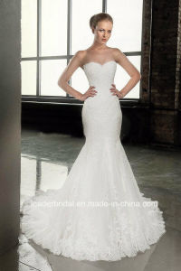Mermaid Lace Bridal Formal Gowns Cap Sleeves Hollow Back Wedding Dresses G1750 pictures & photos