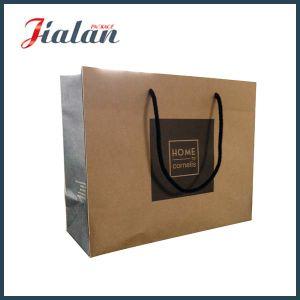 Black Hot Stamping Logo Printed 157g Brown Kraft Paper Bag pictures & photos