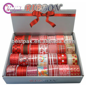 Christmas Printed Beautiful Red Ribbon
