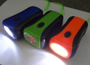 Hand Crank Portable 6 LED Lamp Torch with Red Laser Dynamo Emergency Flashlight pictures & photos