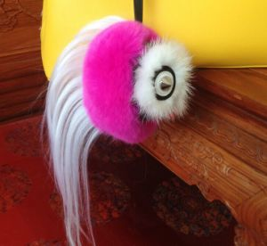 2015 New Soft 100% Raccoon Fur Ball Keychains Accessories for Bag