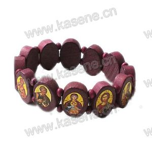 Red Coffee Ellipse Epoxy Saint Image Wooden Rosary Bracelet