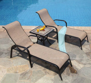 Best Choice Cheap Us Outdoor Patio Hotel Pool Chairs with Brown Finish Textilene Back Recling (2+1) Set pictures & photos