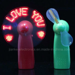 Battery Operated Customized Message LED Mini Fan with Logo Printed (3509) pictures & photos