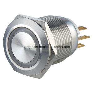 19mm Ring LED Flat Head Momentary 1no1nc Stainless Steel Push Button Switch pictures & photos