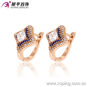 Popular Fashion Luxury CZ Gold-Plated Jewelry Square Four-Point Stars Hoop Earring - 28747 pictures & photos