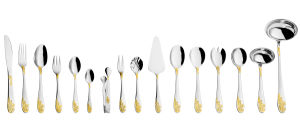72PCS Stainless Steel with Golden Cutlery Set pictures & photos
