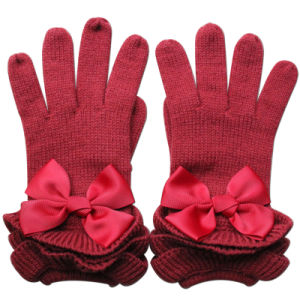Lady Fashion Ribbon Bow Wool Knitted Warm Dress Gloves (YKY5468-3) pictures & photos