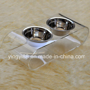Super Quality Acrylic Dog Feeder with Two Bowls pictures & photos