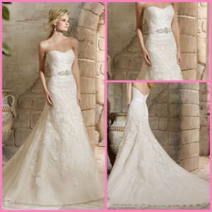 Fashion Lace Tulle Wedding Dresses Strapless Beads Wedding Gown Mrl2781 pictures & photos