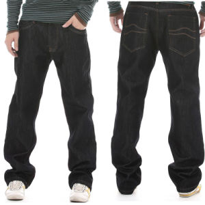 Wholesale 2017 Basic Men′s Black Cotton Loose Jeans pictures & photos