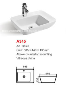 Ceramic Wash Basin (No. A345) Rectangular Art Basin pictures & photos