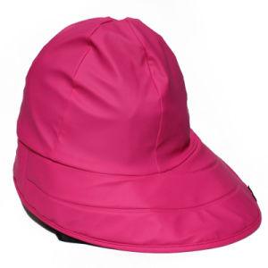 Rose Red PU Rain Hat /Rain Cap/Raincoat for Adult pictures & photos