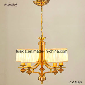 New Design Fabric Square Shape Gold Chandelier Pendant Lighting for Home/Restaurant D-6117/5 pictures & photos