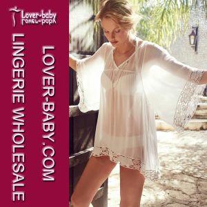 Ladies White Flower Kimono Kaftan Tunic Cover up Lace Beachwear (L38248) pictures & photos