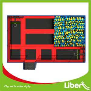 Red Movable Small Jumping Beds with Basketball and Sponge Cubes for Rent How to Open a Trampoline Park pictures & photos