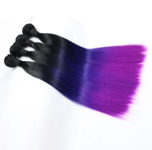Foreign Trade Blue Purple Mixed Gradient Synthetic Hair Weft