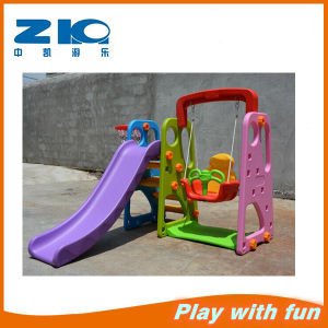 Home Daycare Plastic Swing and Slide Set Swing and Slide pictures & photos
