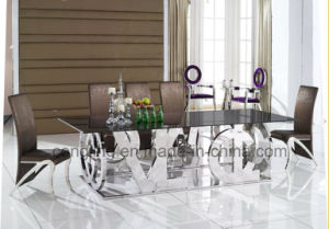 Luxury Design English Word Stainless Steel Big Dining Table (A8036)