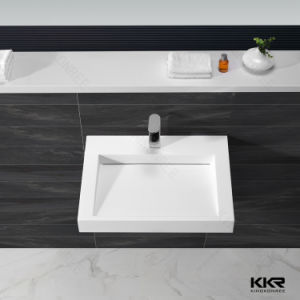 Solid Surface Wall Hung Bathroom Corner Sink for Hotel (060702) pictures & photos