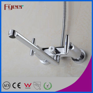 Fyeer Double Handle Long Spout Brass Bath Faucet with Diverter pictures & photos
