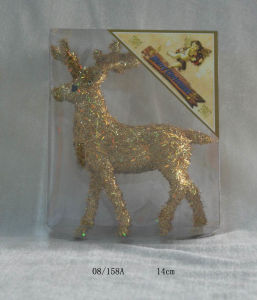 Golden Foam Tinsel Deco. Christmas Deer Hanging Ornament