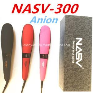 2016 New Brand Anion Straightener Comb Nasv-300 Hair Straightener Brush with Ceramic Coating Beauty Star LCD Hair Straightener Brush pictures & photos
