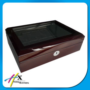 Watch Storage Box 10-Slot Glossy Lacquer Wooden Watch Display Case pictures & photos