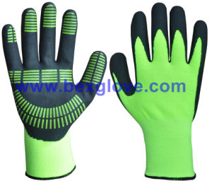 15gauge Nylon/Spandex Liner, Nitrile Coating, Micro-Foam, Color Dots Work Glove pictures & photos